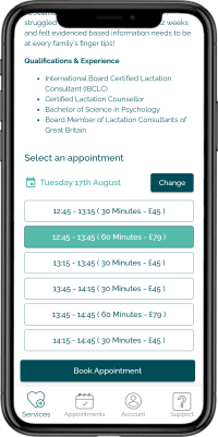 Phone showing a list of available Naytal appointment times and prices on it's display